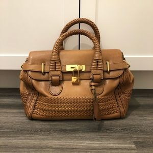 Gucci Leather Woven Top Handle Bag